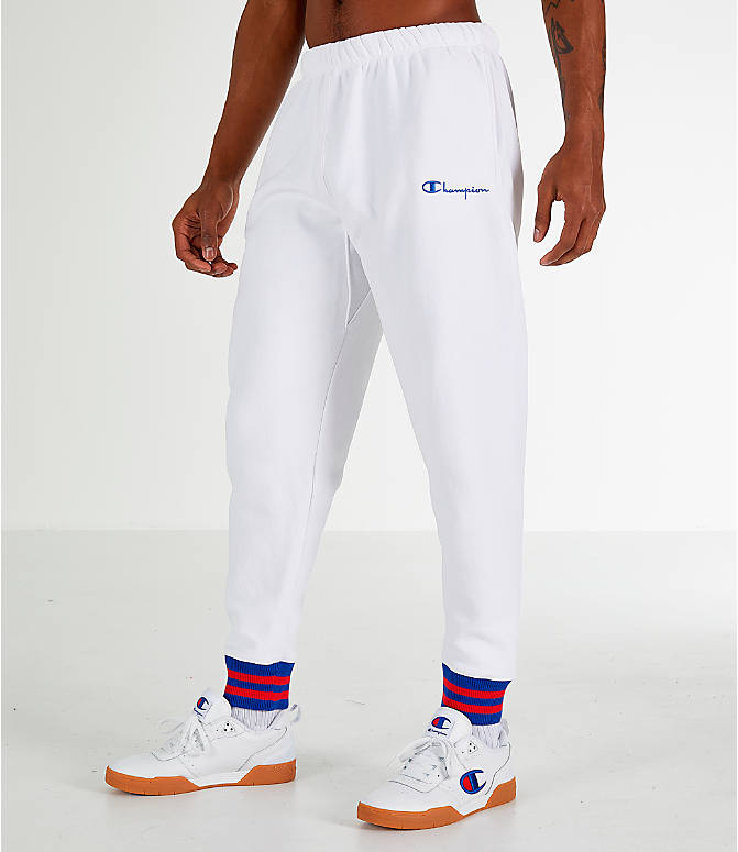 Front Three Quarter view of Men's Champion Yard Dyed Ribbed Jogger Pants in White