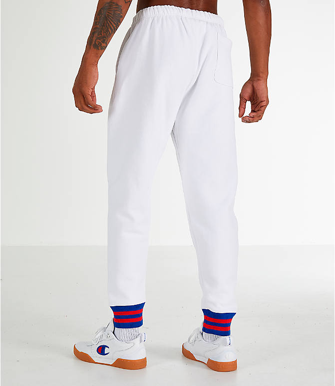 Back Left view of Men's Champion Yard Dyed Ribbed Jogger Pants in White