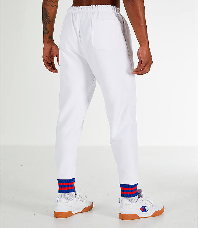 Back Right view of Men's Champion Yard Dyed Ribbed Jogger Pants in White