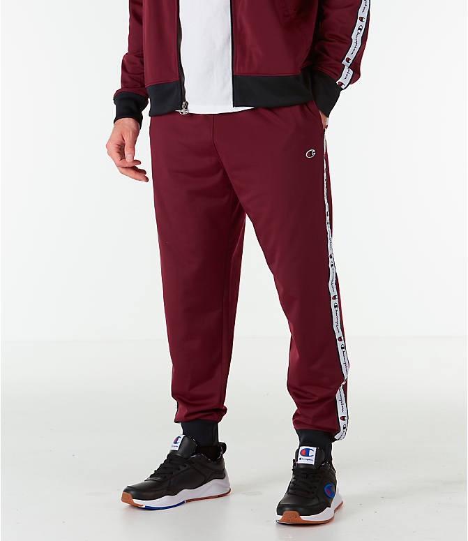 Front view of Men's Champion Side Tape Track Jogger Pants in Mulled Berry