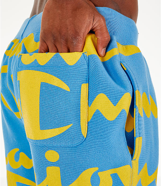 Detail 1 view of Men's Champion Reverse Weave Allover Print Large Script Jogger Pants in Active Blue