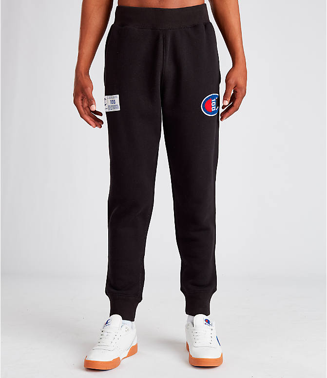 Front Three Quarter view of Men's Champion Century Collection Jogger Pants in Black