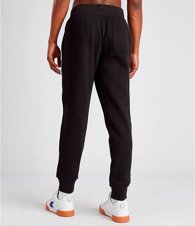 Back Left view of Men's Champion Century Collection Jogger Pants in Black