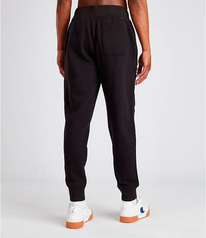 Back Right view of Men's Champion Century Collection Jogger Pants in Black