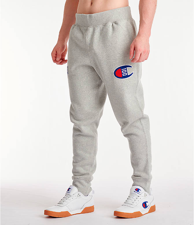 Front Three Quarter view of Men's Champion Century Collection Jogger Pants in Oxford Grey