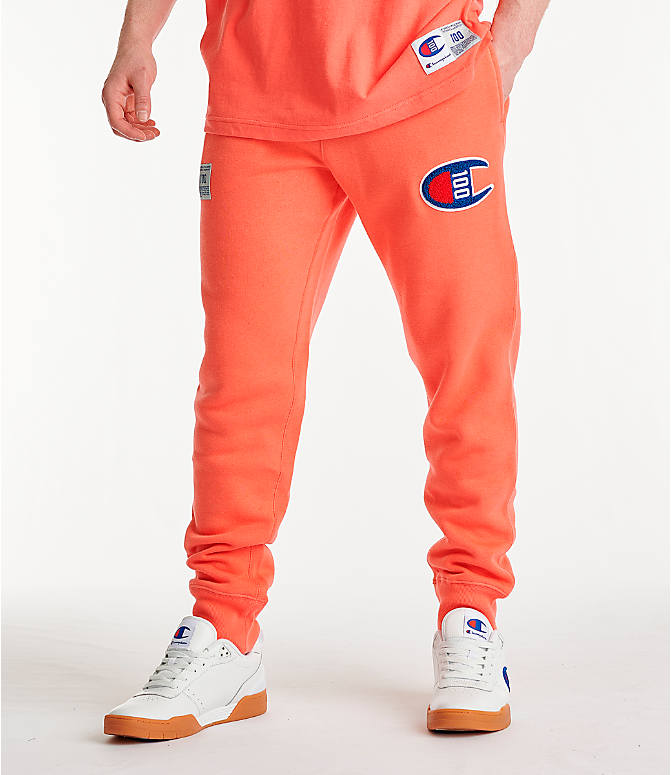 Front view of Men's Champion Century Collection Jogger Pants in Groovy Papaya