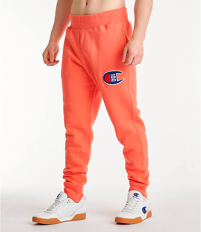 Front Three Quarter view of Men's Champion Century Collection Jogger Pants in Groovy Papaya