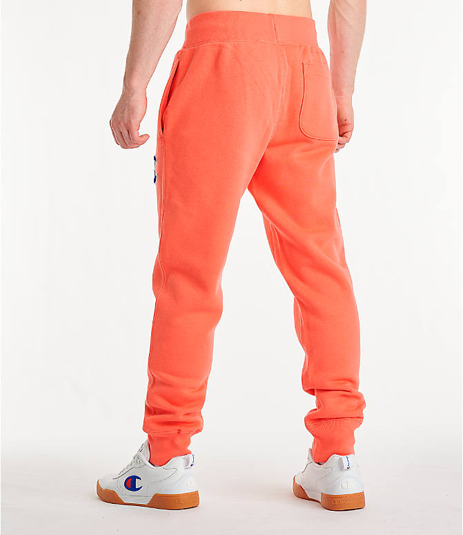 Back Left view of Men's Champion Century Collection Jogger Pants in Groovy Papaya