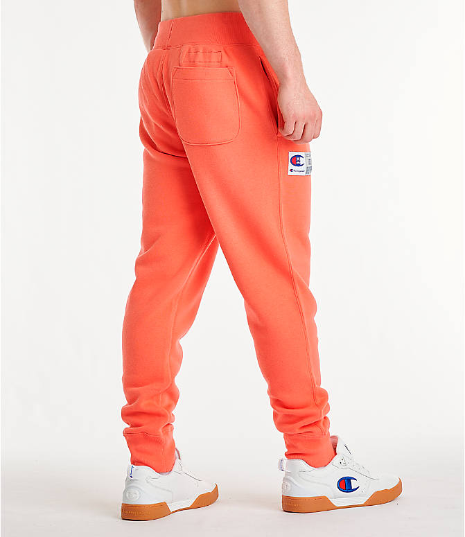 Back Right view of Men's Champion Century Collection Jogger Pants in Groovy Papaya