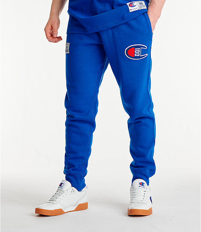 Front view of Men's Champion Century Collection Jogger Pants in Surf the Web