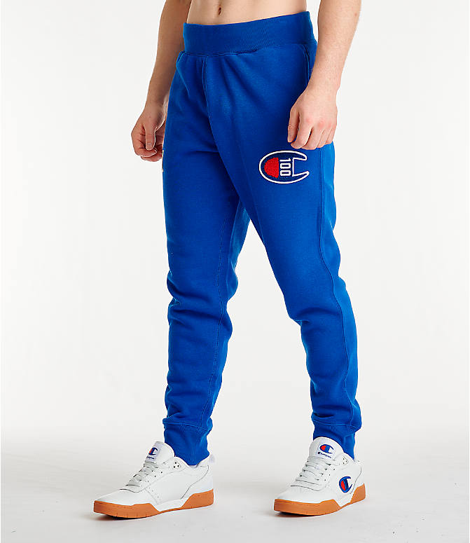 Front Three Quarter view of Men's Champion Century Collection Jogger Pants in Surf the Web