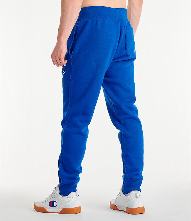Back Left view of Men's Champion Century Collection Jogger Pants in Surf the Web