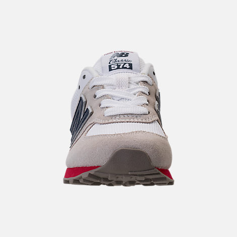 Front view of Boys' Little Kids' New Balance 574 Casual Shoes in Nimbus Cloud/Navy