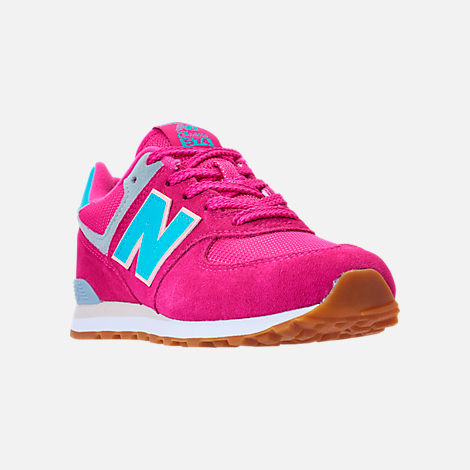 Three Quarter view of Girls' Preschool New Balance 574 Casual Shoes