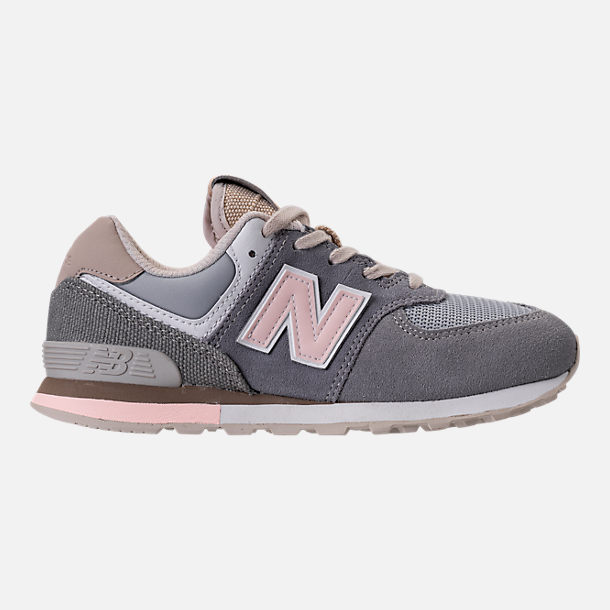 Right view of Girls' Preschool New Balance 574 Casual Shoes in Gunmetal/Steel