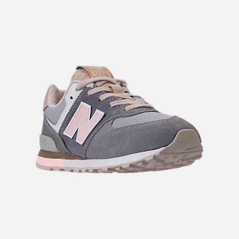 Three Quarter view of Girls' Preschool New Balance 574 Casual Shoes in Gunmetal/Steel