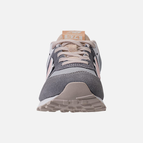 Front view of Girls' Preschool New Balance 574 Casual Shoes in Gunmetal/Steel