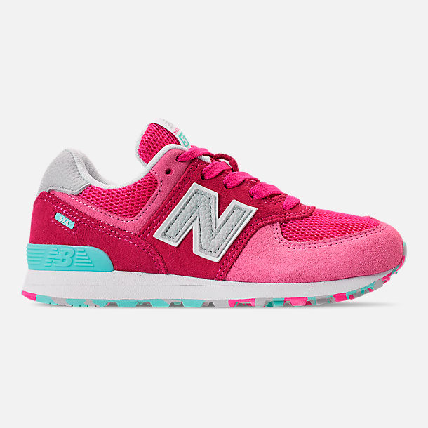 Right view of Girls' Little Kids' New Balance 574 Casual Shoes in Peony/Peony Glow