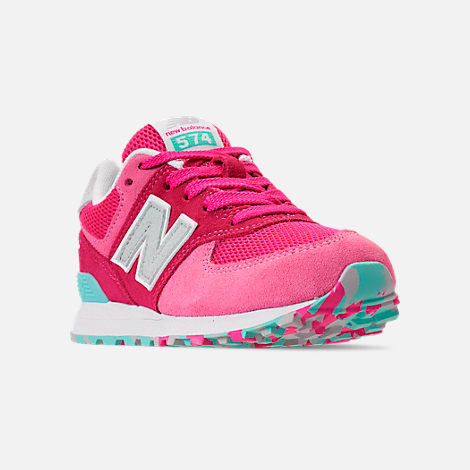 Three Quarter view of Girls' Little Kids' New Balance 574 Casual Shoes in Peony/Peony Glow