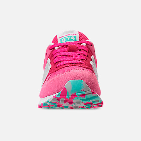 Front view of Girls' Little Kids' New Balance 574 Casual Shoes in Peony/Peony Glow