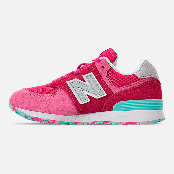Left view of Girls' Little Kids' New Balance 574 Casual Shoes in Peony/Peony Glow