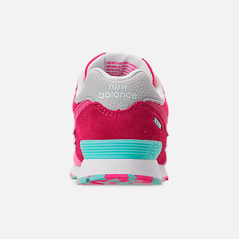 Back view of Girls' Little Kids' New Balance 574 Casual Shoes in Peony/Peony Glow