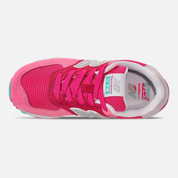 Top view of Girls' Little Kids' New Balance 574 Casual Shoes in Peony/Peony Glow