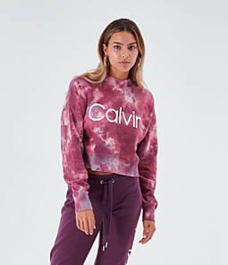 Women's Calvin Klein Tie Dye Crop Crew Sweatshirt