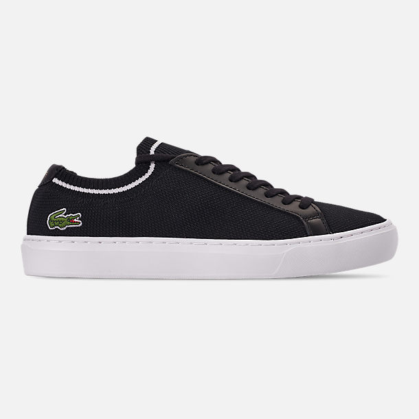Right view of Men's Lacoste Le Piqué Knit Casual Shoes in Black/White