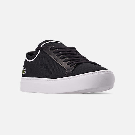 Three Quarter view of Men's Lacoste Le Piqué Knit Casual Shoes in Black/White
