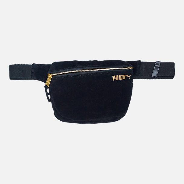 Front view of Puma Suede Hip Pack in Black/Gold