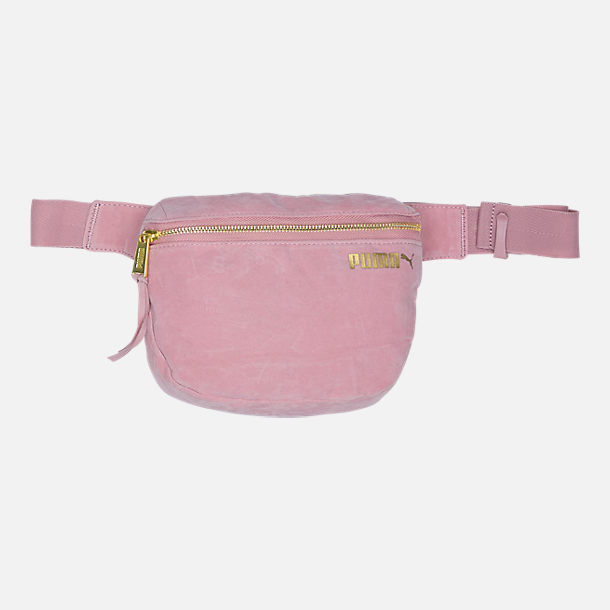 Front view of Puma Suede Hip Pack in Pink/Gold