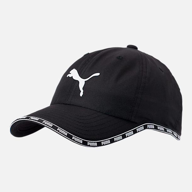Front view of Puma Greta Adjustable Hat in Black/White