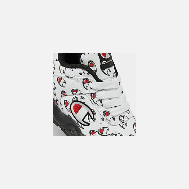 Front view of Boys' Toddler Champion 93Eighteen Repeat C Casual Shoes in White/Black
