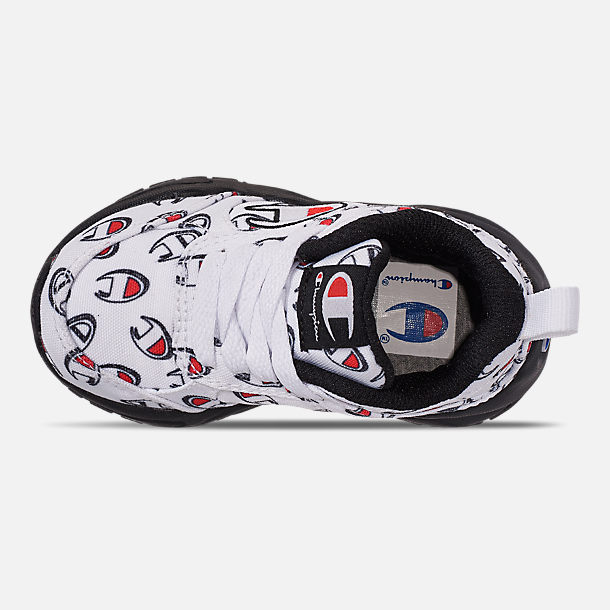 Top view of Boys' Toddler Champion 93Eighteen Repeat C Casual Shoes in White/Black