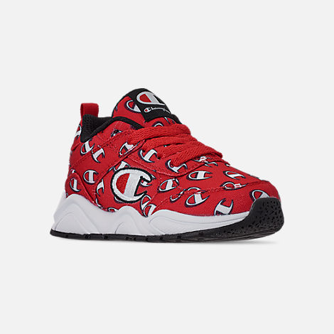 Three Quarter view of Boys' Toddler Champion 93Eighteen Repeat C Casual Shoes in Red/White