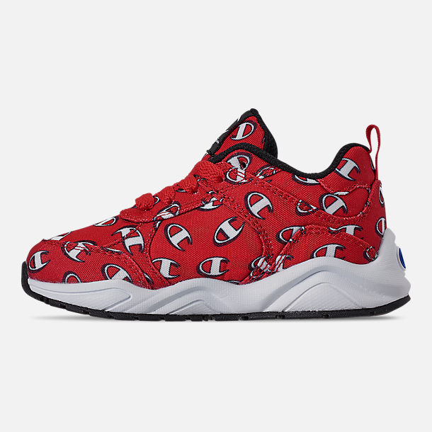 Left view of Boys' Toddler Champion 93Eighteen Repeat C Casual Shoes in Red/White