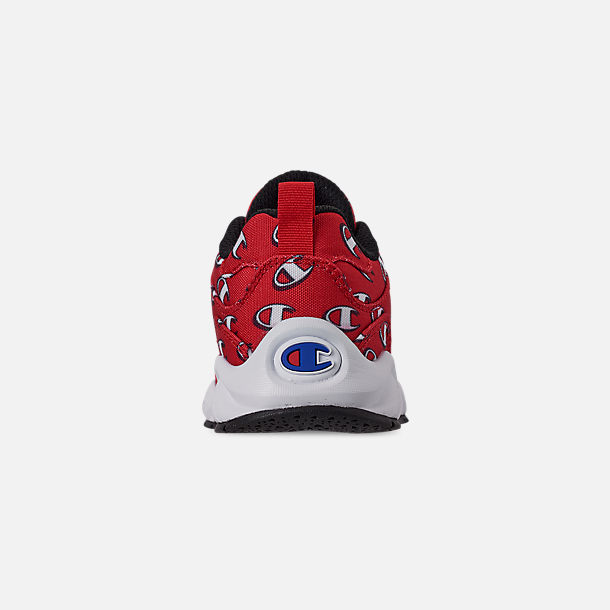 Back view of Boys' Toddler Champion 93Eighteen Repeat C Casual Shoes in Red/White