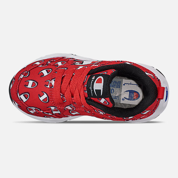 Top view of Boys' Toddler Champion 93Eighteen Repeat C Casual Shoes in Red/White