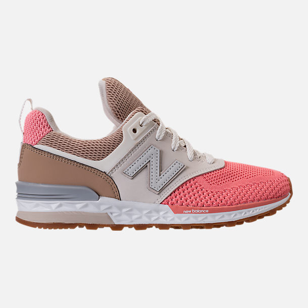 Right view of Girls' Little Kids' New Balance 574 Sport Casual Shoes in Hemp/Dusted Peach