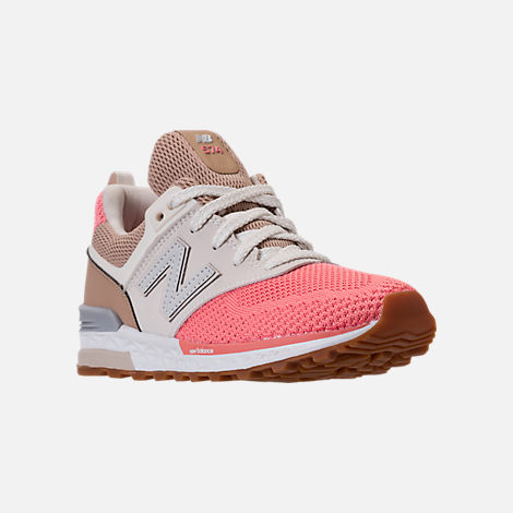 Three Quarter view of Girls' Little Kids' New Balance 574 Sport Casual Shoes in Hemp/Dusted Peach