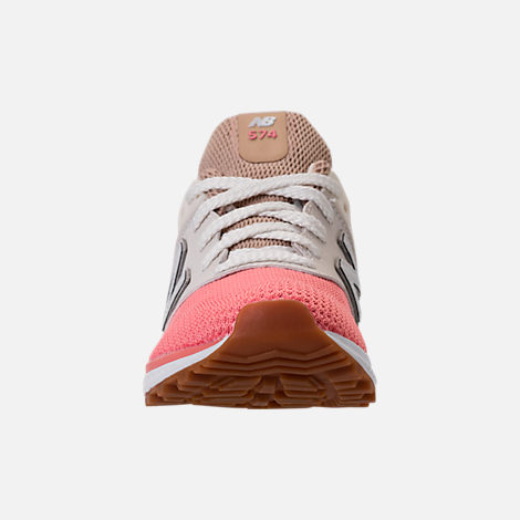 Front view of Girls' Little Kids' New Balance 574 Sport Casual Shoes in Hemp/Dusted Peach