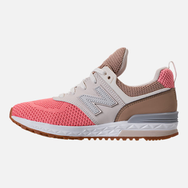 Left view of Girls' Little Kids' New Balance 574 Sport Casual Shoes in Hemp/Dusted Peach