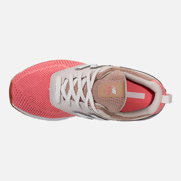 Top view of Girls' Little Kids' New Balance 574 Sport Casual Shoes in Hemp/Dusted Peach