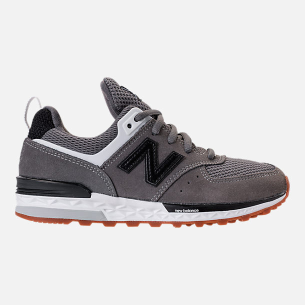 Right view of Boys' Preschool New Balance 574 Sport Casual Shoes in Grey/Black/White/Gum