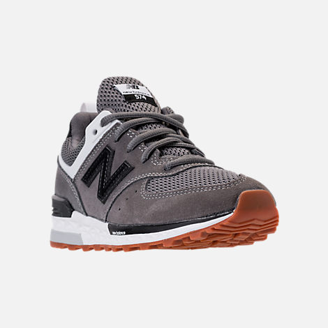 Three Quarter view of Boys' Preschool New Balance 574 Sport Casual Shoes in Grey/Black/White/Gum