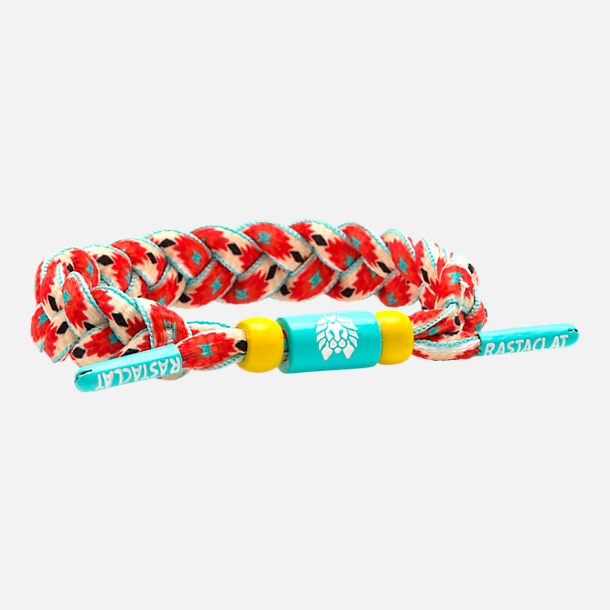 Front view of Rastaclat Classic Bracelet - Electric Boho in Orange/Green