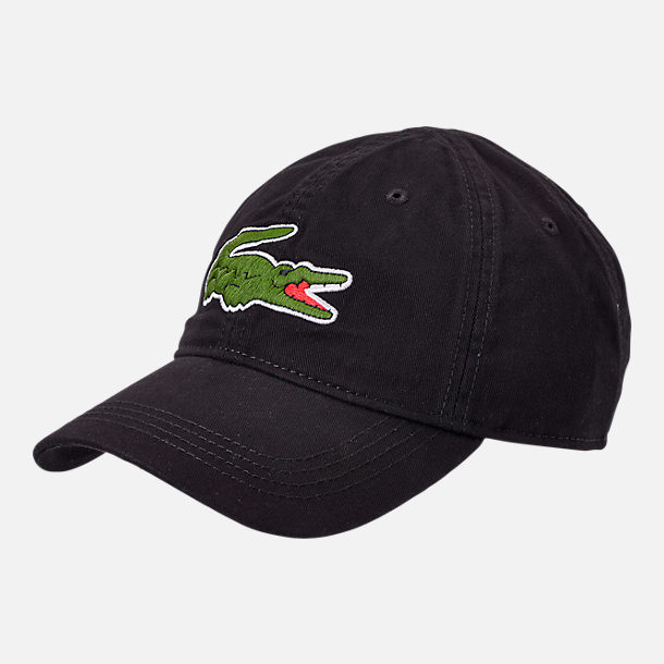 Front view of Lacoste Big Croc Gabardine Strapback Hat in Black/Green