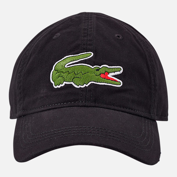 Back view of Lacoste Big Croc Gabardine Strapback Hat in Black/Green