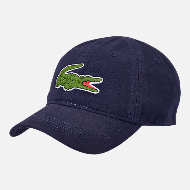 6dbda4461 Front view of Lacoste Big Croc Gabardine Strapback Hat in Navy Green